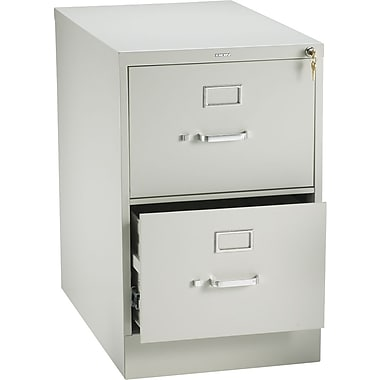 HON 210 Series Vertical File Cabinet, 28 1/2in. 2-Drawer, Legal Size, Light Gray