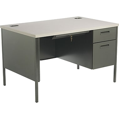 HON Metro Classic 48in. Single Pedestal Desk, Charcoal/Gray