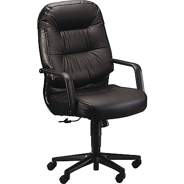 HON 2091 Pillow-Soft Leather Executive High-Back Swivel/Tilt Chair, Black