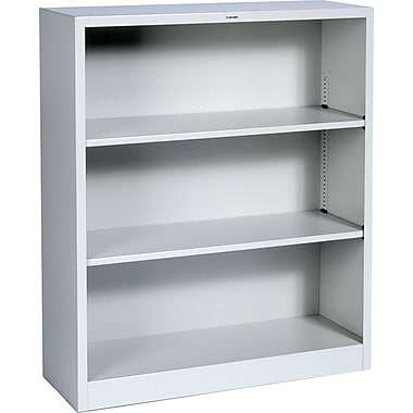 HON® Brigade 3-Shelf Metal Bookcase, Gray