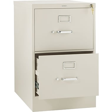 HON 310 Series Vertical File Cabinet, 26 1/2in. 2-Drawer, Legal Size, Putty
