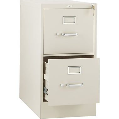 HON 310 Series Vertical File Cabinet, 26 1/2in. 2-Drawer, Letter Size, Putty