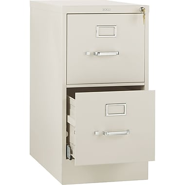 HON 510 Series Vertical File Cabinet, 25in. 2-Drawer, Letter Size, Putty