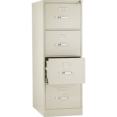 HON 510 Series Vertical File Cabinet, 25in. 4-Drawer, Legal Size, Putty