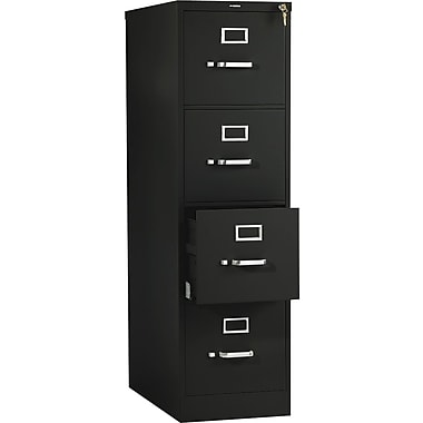 HON 510 Series Vertical File Cabinet, 25in. 4-Drawer, Letter Size, Black