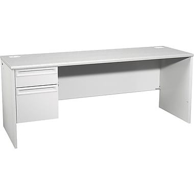 HON 38000 72in. x 24in. Left  Single Pedestal Credenza, Light Gray/Light Gray