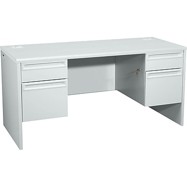 HON 38000 Series Kneespace Credenza with Lock, Light Gray/Light Gray