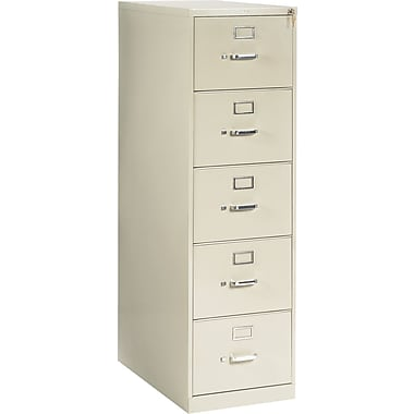 HON 210 Series Vertical File Cabinet, 28 1/2in. 5-Drawer, Legal Size, Putty