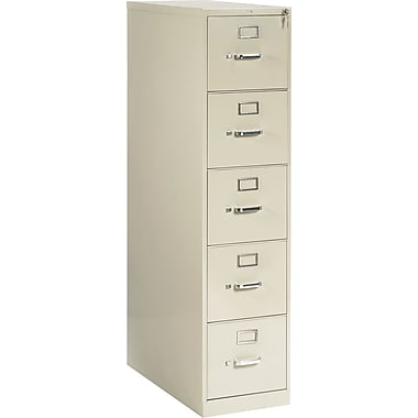 HON 210 Series Vertical File Cabinet, 28 1/2in. 5-Drawer, Letter Size, Putty