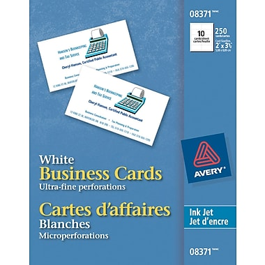 Averyr inkjet printer business cards uncoated white for Print business cards at staples