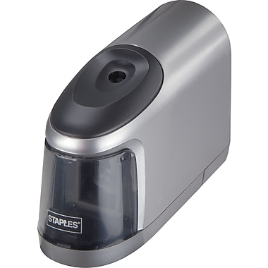 Staples Slimline Battery Operated Pencil Sharpener, Electric, Silver/Black (17813)