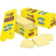 "Post-it® Super Sticky Notes, 3"" x 3"", Canary Yellow, 24 Pads/Cabinet Pack (654-24SSCP)"