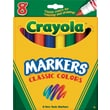 Crayola® Classic Markers, Broad Line, 8/Box