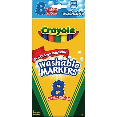 Crayola® Washable Markers, Fine Line, 8/Box