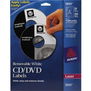 Avery 5931 Removable Laser CD/DVD Labels, 50 Disk/100 Spine Labels, White