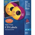 Avery 8692 Permanent Inkjet CD Labels, 40 Disc/80 Spine Labels, White Matte