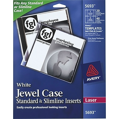 Avery Jewel Case Inserts for CD/DVD