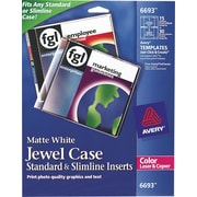 Avery 6693 Color Laser Jewel Case Inserts, 15 Front and Back Inserts, White