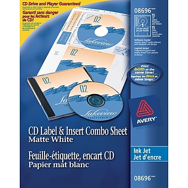 Avery 8696 Permanent Inkjet CD Label and Insert Combo, White