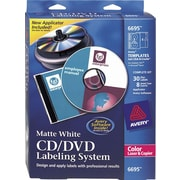 Avery 6695 Color Laser CD/DVD Design Kit Labeling System, Non-Glossy (Matte) Labels/Inserts
