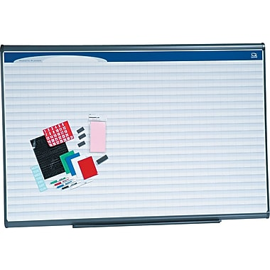 Quartet® 6' x 4' Prestige Plus® Total Erase® Porcelain Planning System with 2in. x 1in. Grid Pattern