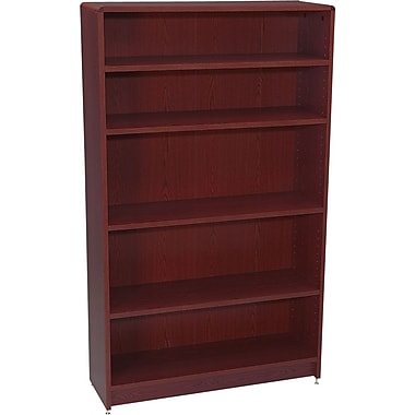 HON Radius Edge Laminate 60in.H, 5-Shelf Bookcase, Mahogany