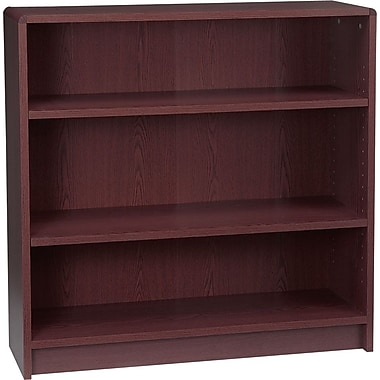 HON Radius Edge Laminate 35in.H, 3-Shelf Bookcase, Mahogany