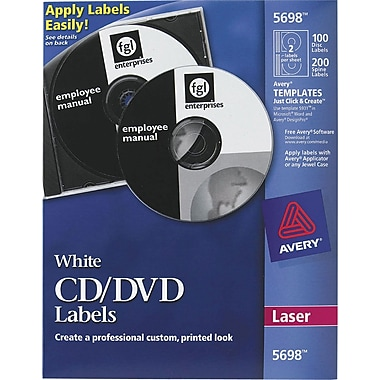Avery 5698 Permanent Laser CD/DVD Labels, 100 Disk/200 Spine Labels, White
