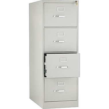 HON 210 Series Vertical File Cabinet, 28 1/2in. 4-Drawer, Legal Size, Light Gray