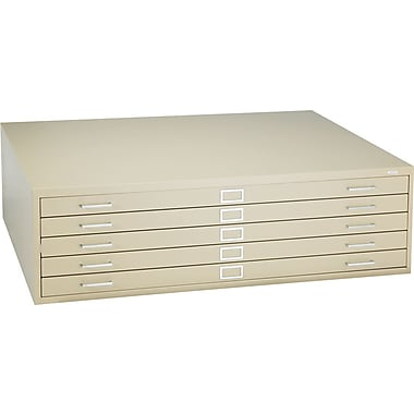 Safco 5-Drawer Steel Flat File Only, 16 1/2in.H x 53 3/8in.W x 41 3/8in.D, Sand