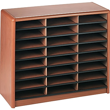 Safco® Value Sorter Literature Organizer, 24 Compartment, 32 1/4in. x 13 1/2in.x 25 3/4in., Medium Oak
