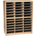 Safco® Value Sorter Literature Organizer, 36 Compartment, 32 1/4in. x 13 1/2in. x 38in.,  Medium Oak