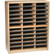 "Safco® Value Sorter Literature Organizer, 36 Compartment, 32 1/4"" x 13 1/2"" x 38"",  Medium Oak"
