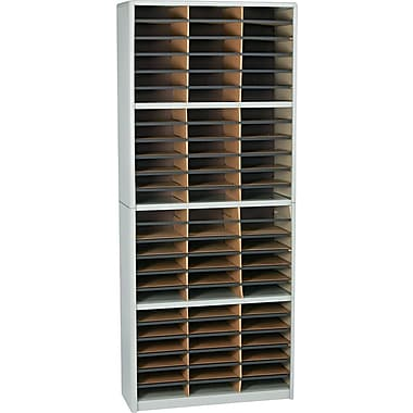 Safco® Value Sorter Literature Organizer, 72 Compartment, 32 1/4in. x 13 1/2in. x 75in., Gray