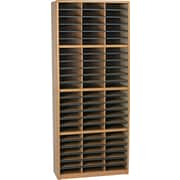"Safco® Value Sorter Literature Organizer, 72 Compartment 32 1/4"" x 13 1/2"" x 75"", Medium Oak"