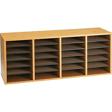 Safco® Adjustable Wood Literature Organizer, 24 Compartment, 39 1/4in. x 11 3/4in. x 16 1/4in., Oak