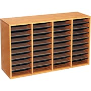 "Safco® Adjustable Wood Literature Organizer, 36 Compartment, 39 1/4"" x 11 3/4"" X 24"", Oak"