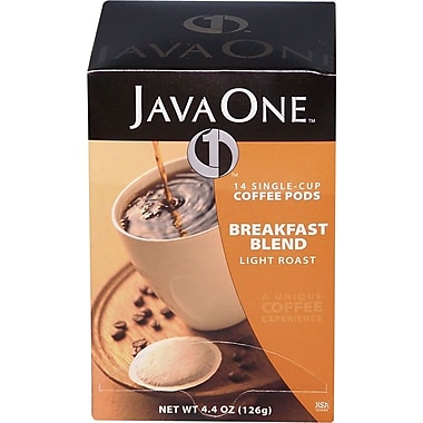 Java One Single Cup Breakfast Blend Ground Coffee, Regular, .3 oz., 14 Pods