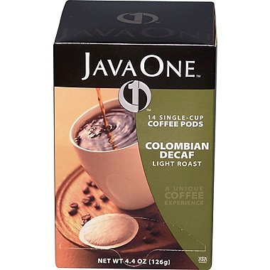 Java One Single Cup Colombian Ground Coffee, Decaffeinated, .3 oz., 14 Pods