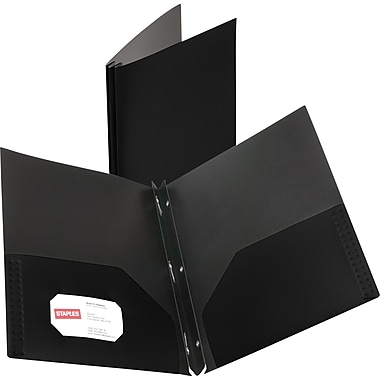 Staples® Textured Poly 2-Pocket Folders with Fasteners, Black
