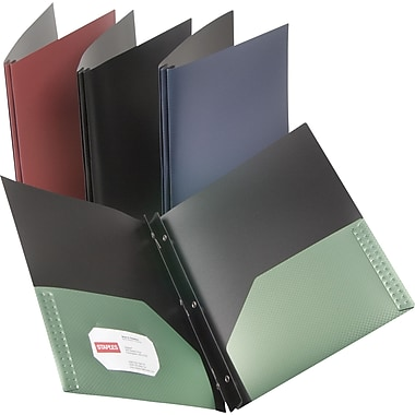 Staples® Textured Poly 2-Pocket Folders with Fasteners