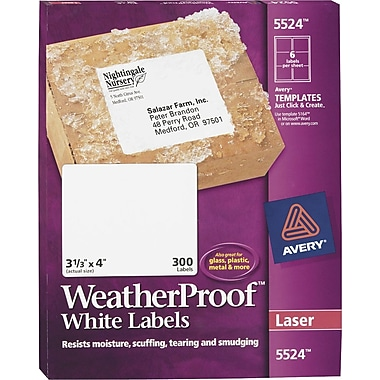 Avery® White WeatherProof™ Laser Shipping Labels