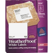 "Avery® 3-1/3"" X 4"" WeatherProof Shipping Labels, White, 300/Box (5524)"