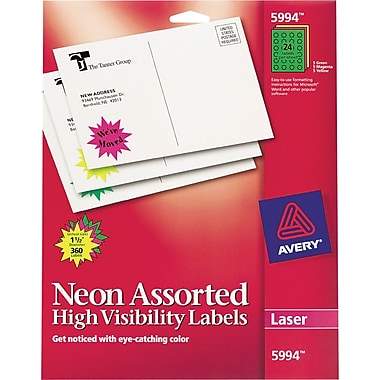 Avery® 5994 Neon Laser Burst ID Labels, 1-1/2