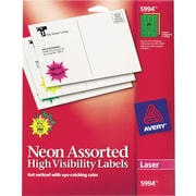 Avery® 5994 Neon Laser Burst ID Labels, 1-1/2, Assorted Colors, 360/Box