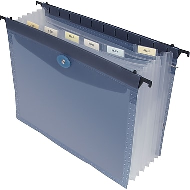 Staples® Poly Expanding Hanging File Folder, Letter, 7 Pockets, Blue, Each