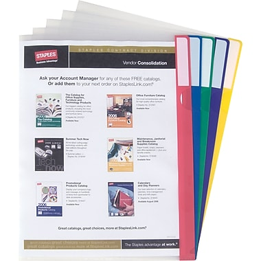 Staples Poly Index Folders, Letter, Assorted, 10/Pack