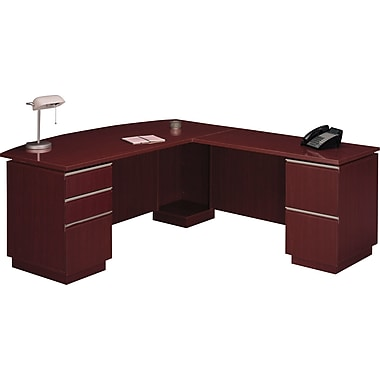 Bush Milano2 72in.W RH Double Pedestal L-Desk (F/F, B/B/F), Harvest Cherry, Fully Assembled