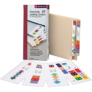 Smead Smartstrip™ Labeling System Starter Kit With CD Software, Assorted Colors, 1 1/2