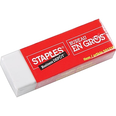 Staples® White Vinyl Erasers, 2/Pack